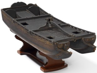 Model of a twin-hulled ship designed by Sir William Petty FRS (c. 1685)