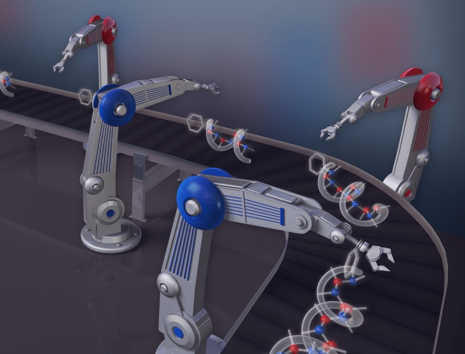 Stylised working of a molecular assembly line. Credit Amber Webster.