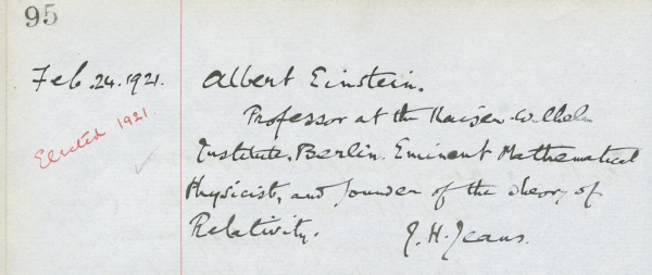 Einstein's nomination by James Jeans