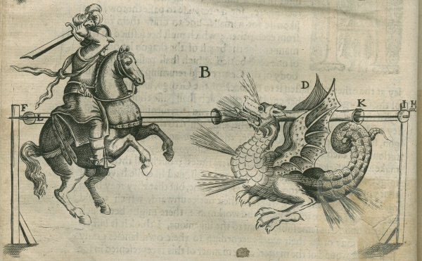 St George and the dragon, from John Babington's 'Pyrotechnia' (1635)