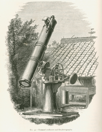 Illustration of a reflecting telescope, from 'Contributions to solar physics' by J Norman Lockyer (1874)