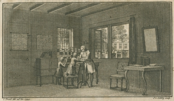 Abraham Trembley in his laboratory with pupils