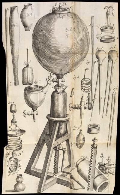 Robert Boyle's air pump, from his 'New experiments physico-mechanicall' (1660)