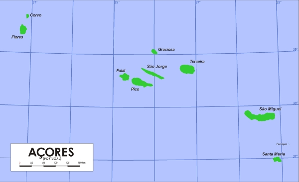 Map of the Azores (Wikimedia Commons)