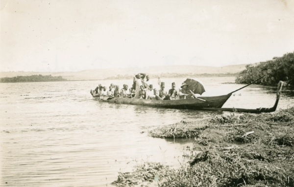Sir David Bruce in his canoe on Lake Victoria
