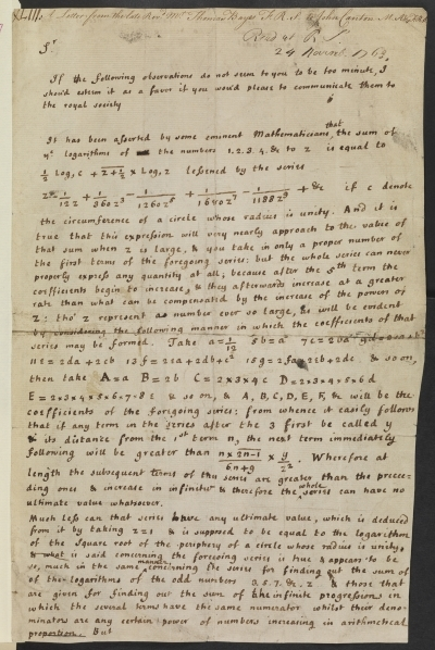 Letter from Rev. Thomas Bayes to John Canton, 1763