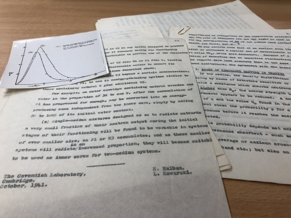 Pages from papers by Halban and Kowarski deposited with the Royal Society