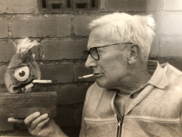 Nikolaas Tinbergen with a driftwood self portrait