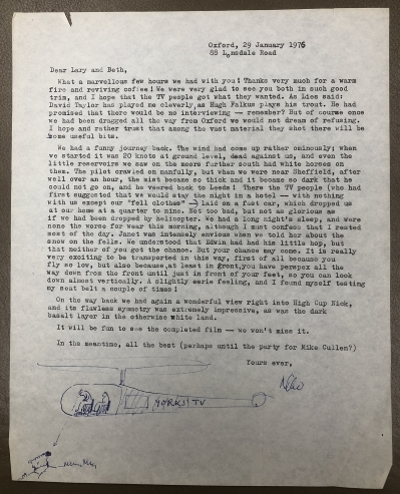 Letter from Nikolaas Tinbergen to Lary Shaffer describing a helicopter flight while filming with Yorkshire TV
