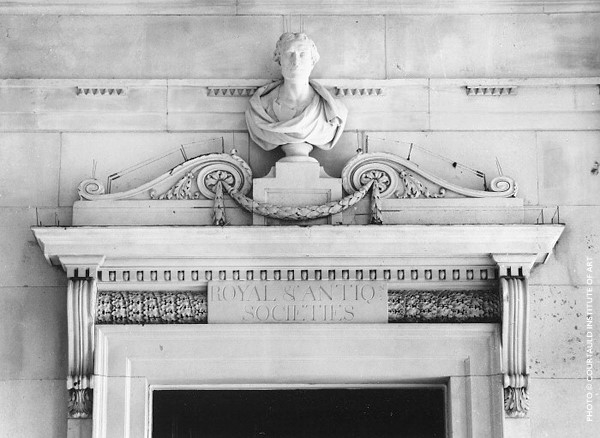 A bust of Sir Isaac Newton above the entrance to the Fine Rooms at Somerset House, London