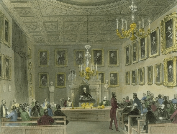 A meeting of Fellows of the Royal Society at Somerset House, ca.1844