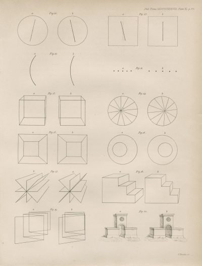 Line figures by Charles Wheatstone from Phil Trans, 1838