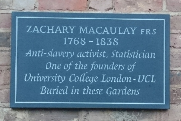 Memorial to Zachary Macaulay FRS in St George's Gardens, London
