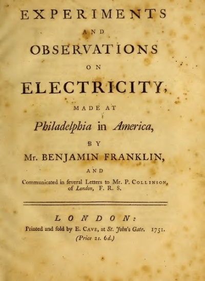 Title page of Benjamin Franklin's 'Experiments and Observations on Electricity', 1751