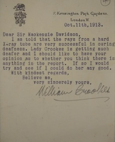 Letter from Sir William Crookes to James Mackenzie Davidson