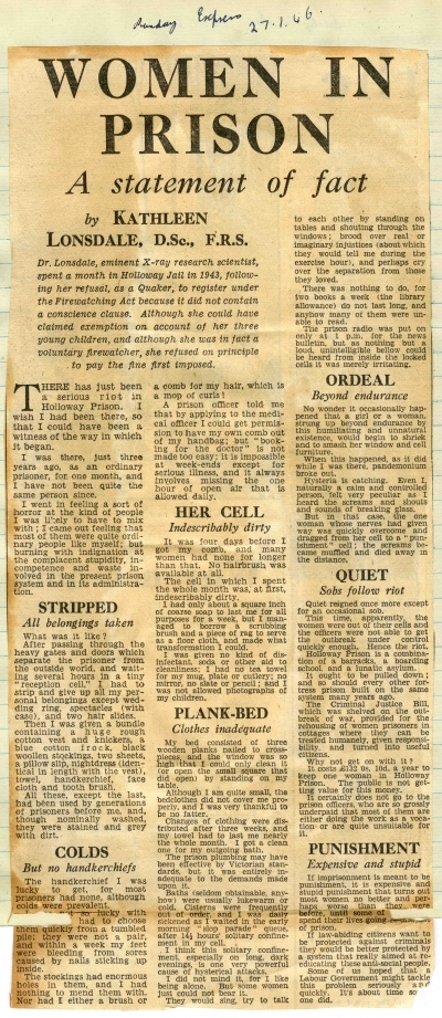 'Women in Prison': Sunday Express article by Kathleen Lonsdale, 1946