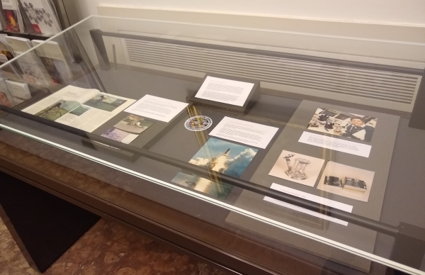 Display case in the Royal Society depicting some of David Jones's research