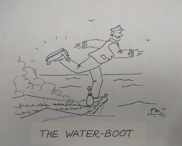 David Jones's depiction of steam-powered boots for walking on water
