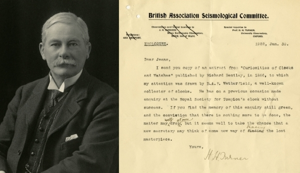 Photograph of Herbert Hall Turner FRS, and Turner's letter to Jeans, January 1922