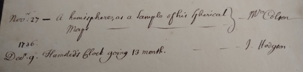 Entry from MS/416: 'Flamsteed's Clock going 13 month'