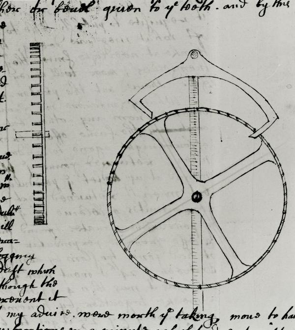 Illustration of a deadbeat escapement made by Thomas Tompion for John Flamsteed's astronomical clocks