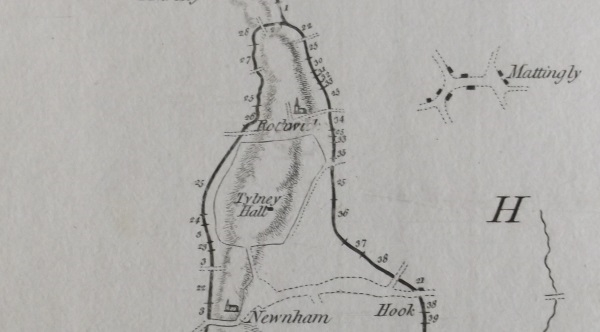The intended loop of the Basingstoke Canal around Tylney Hall, from John Smeaton's plan