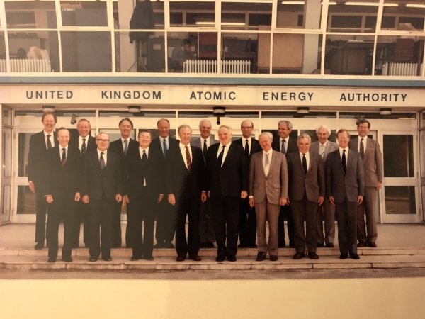 Photograph of Brian Eyre (third from right in front row) and UKAEA staff