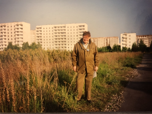 Photograph of Frederick Warner FRS in the evacuated town of Pripyat, 1994