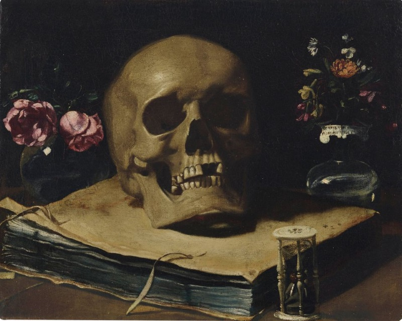 Vanitas still life by Giovanni Francesco Barbieri