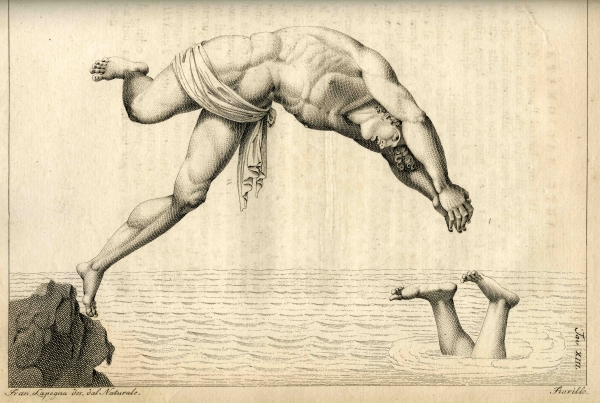 Plate 13 from Oronzio de Bernardi's 'The floating man' (1794)