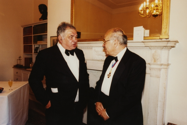 Eduardo Paolozzi with Sir Michael Atiyah PRS at the Royal Society, 1995