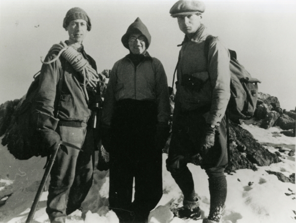 Elsie Widdowson (centre) hiking in the Lake District in January 1940