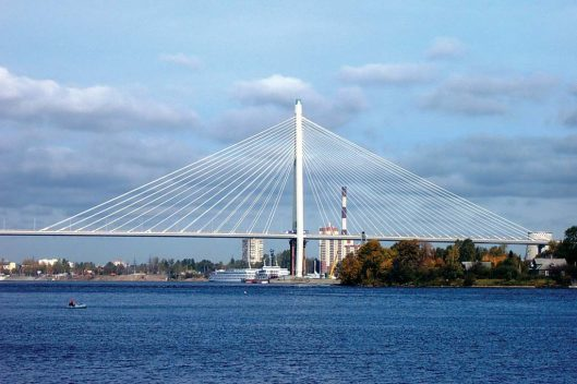 Cable-stayed bridge spanning the Neva River at St. Petersburg, Russia