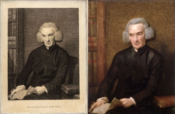 Richard Price, by Thomas Holloway (L) and Benjamin West (R)