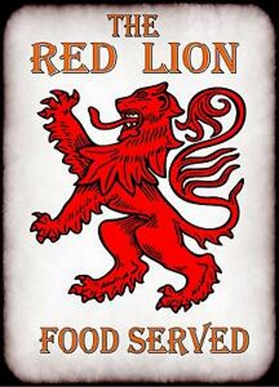 A typical Red Lion pub sign