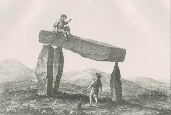 Plate 17 ('Cromlech five miles north west of Castlewellan') from 'Plans and photographs of Stonehenge' by Henry James FRS, 1867