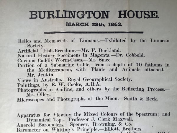 Poster for a Royal Society conversazione at Burlington House on 28 March 1863 (detail)