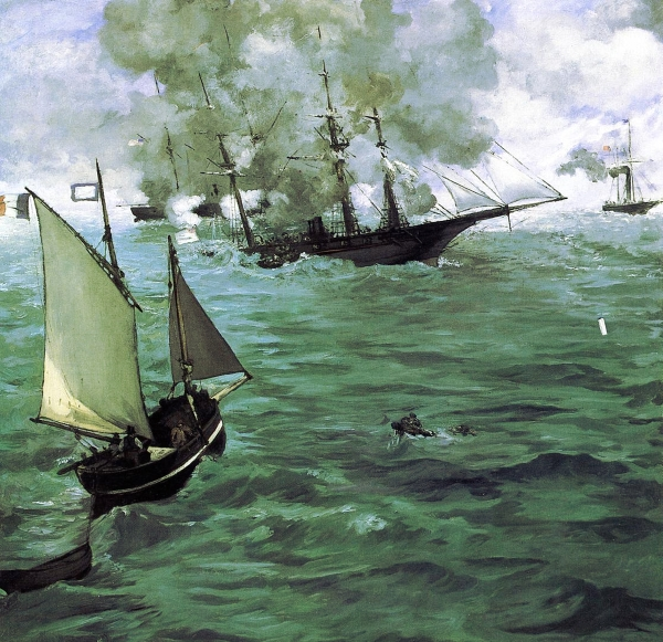 'The Battle of the Kearsarge and the Alabama' by  Édouard Manet, 1864 (public domain)