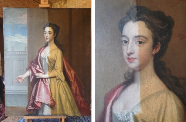 Portrait of a Lady (possibly Mary Wyche) during conservation