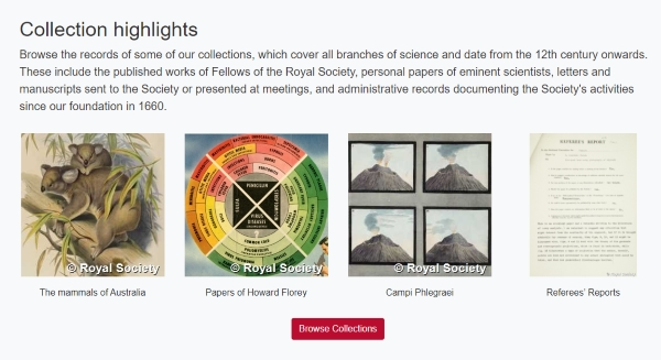 Highlights page for new Royal Society online catalogues