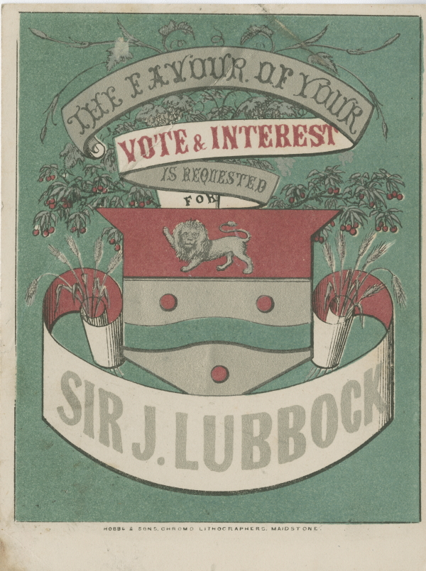 Political flyer in support of John Lubbock, late nineteenth century