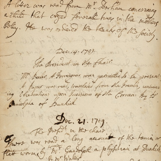 Meetings of the Royal Society, 1707-1711. Catalogue ref: MS/579/059