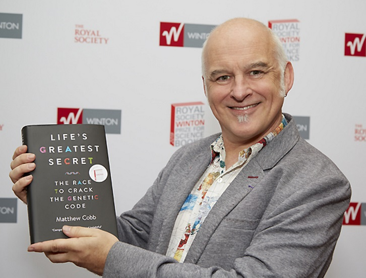 Matthew Cobb with shortlisted title.