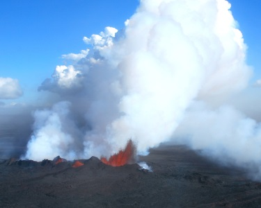 An erupting volcano, one of the potential causes of past hyperthermals (Copyright H. Svenson)