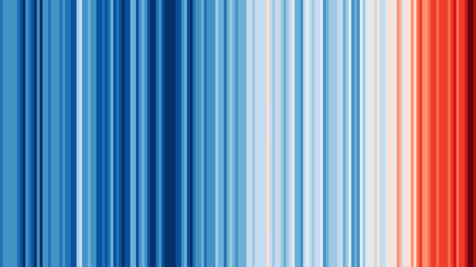 Warming stripes; global temperature rise visualisation by Professor Ed Hawkins