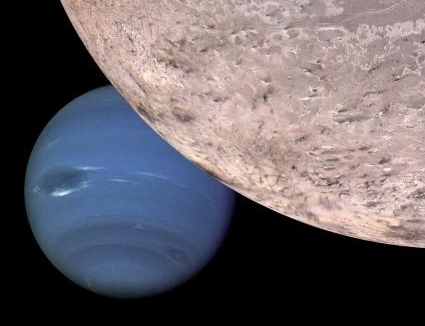 Neptune viewed from beyond the orbit of its largest moon, Triton