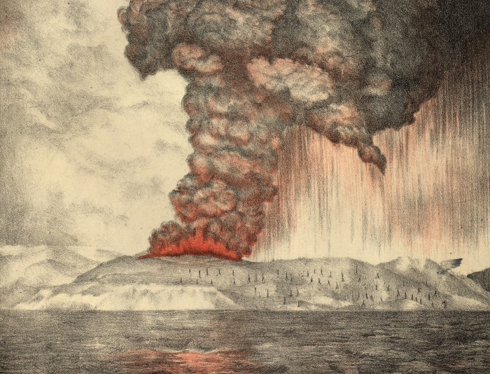 Lithograph showing the eruption of Krakatoa in 1883. The image shows lava and smoke pillowing from the top of the volcanic island with people on the shore.