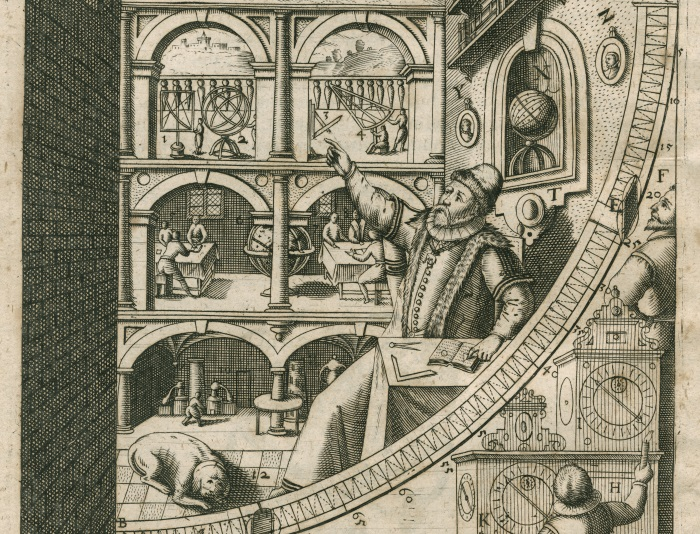Engraving of Tycho Brahe's mural quadrant from his 1602 publication of Astronomia instauratae mechanica.