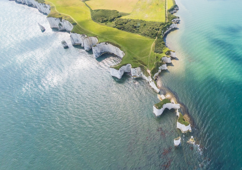 Aerial View of Old Harry Rocks and Purbeck Hills