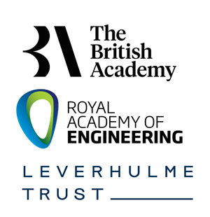 Logos for British Academy, Royal Academy of Engineering and Leverhulme Trust